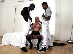 She Takes Two Big Black Dicks