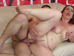 Hot redhead mother sucks dick and gets fucked by not her son