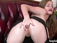 Honour May eager to please in rare vintage corset sheer black vintage nylons and flashy designer heels stripped off wanking bursting to cum