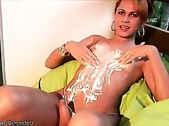 Tranny booty is big and sexy in a solo tease