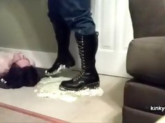 My sissy eats pie from my boots
