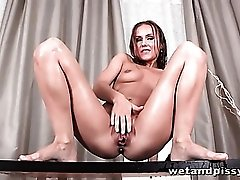 Small tits girl naked in her own piss
