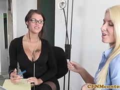 Glam cfnm babes facialized in threesome