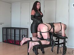 Mature in leather outfit, rough sex on her senior slave