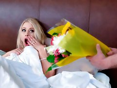 Cute blonde Katie Morgan nicely nailed by a long hard dick