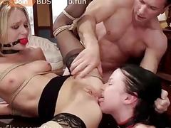 Sluty girl loves BDSM and anal fuck while licking asses