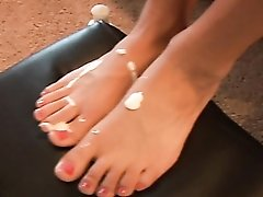 Foot fetish video with lusty lotion play