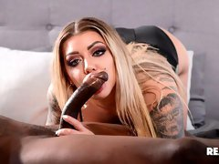 Tattooed white babe Karma RX impaled by a big black dick