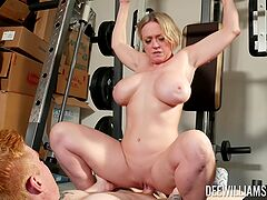 Busty mom rides cock at the gym instead of working out