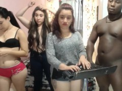 PARTY ON A BBC, 3 TEENS SHARE A BLACK COCK