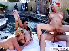 3 Sluts are fucking their friend by the pool