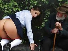 Teen slut in uniform banged on bus stop