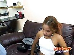 Cute black chick blows a white guy