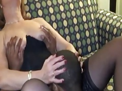 wife in black stocking gets bbc