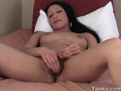 Exotic Rosalee Fingering Her Hairy Twat