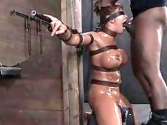 Babe with big tits bound and facefucked by a stud