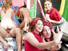 Slutty college girls have an orgy party in dorm room