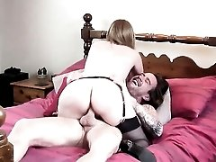 Curvy lady with a shaved pussy rides his fat rod