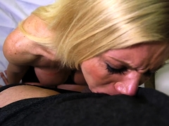 Stacked blonde milf worships a fat cock and gets facialized