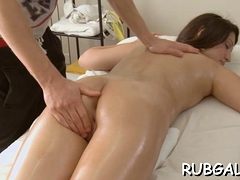 Oiled angel offers her pussy for a sex action