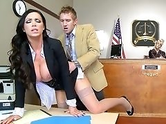 Slutty lawyer Nikki Benz fucked in court