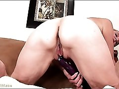 Cute mature is horny for sex with her dildo