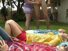 Wicked sweethearts pleasuring solo man outdoors