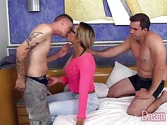 Tgirl cums after barebacked by 2 guys