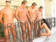 Group cumshots for Cynthia Black on Cum For Cover in a blowbang scene