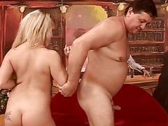 Naughty bitch fucking old fat man