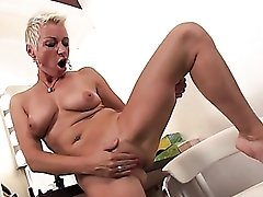 Horny old slut rubbing her clit ring erotically