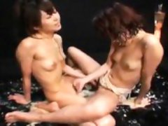 Two passionate Asian chicks bring their wild lesbian fantas