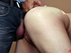 Slim brunette gets fiercely doggy styled by an older man