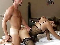Tranny masturbates while being plowed in hardcore fashion
