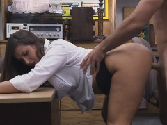 She was on her knees trying to get him cum