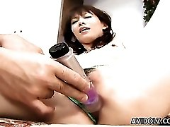 Fondling perky titties of a cute Japanese girl