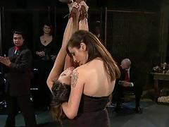 Explicit group tormenting for a breasty slave