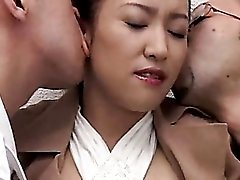 Threesome with foreplay and Japanese pussy fucking