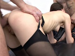 cute honey feels extreme with two dicks pumping her holes