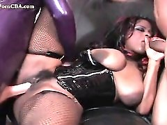 Latex fetish threesome with a black cock whore