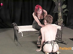 She teases her lesbian slave and rubs her little titties