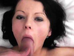 Brunette European babe striptease