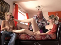He finds her fucking with his old mom and dad