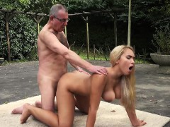 Incredible beauty young girl big tits fucked by old man