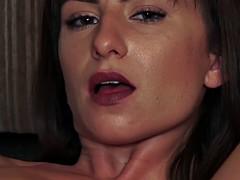 Skinny flexi brunette fingers her wet twat on the floor