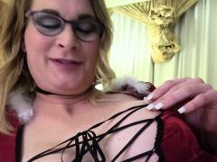 Spex tranny with bigtits masturbating slowly