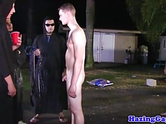 Teen stud assfucking at hazing outdoors