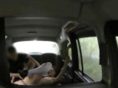 Romanian redhead pussylicked in a taxi