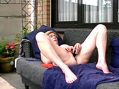 Mature Dutch Esther fucktoys in her backyard