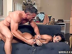 Handcuffed beauty fucked hard from behind by a fit guy
